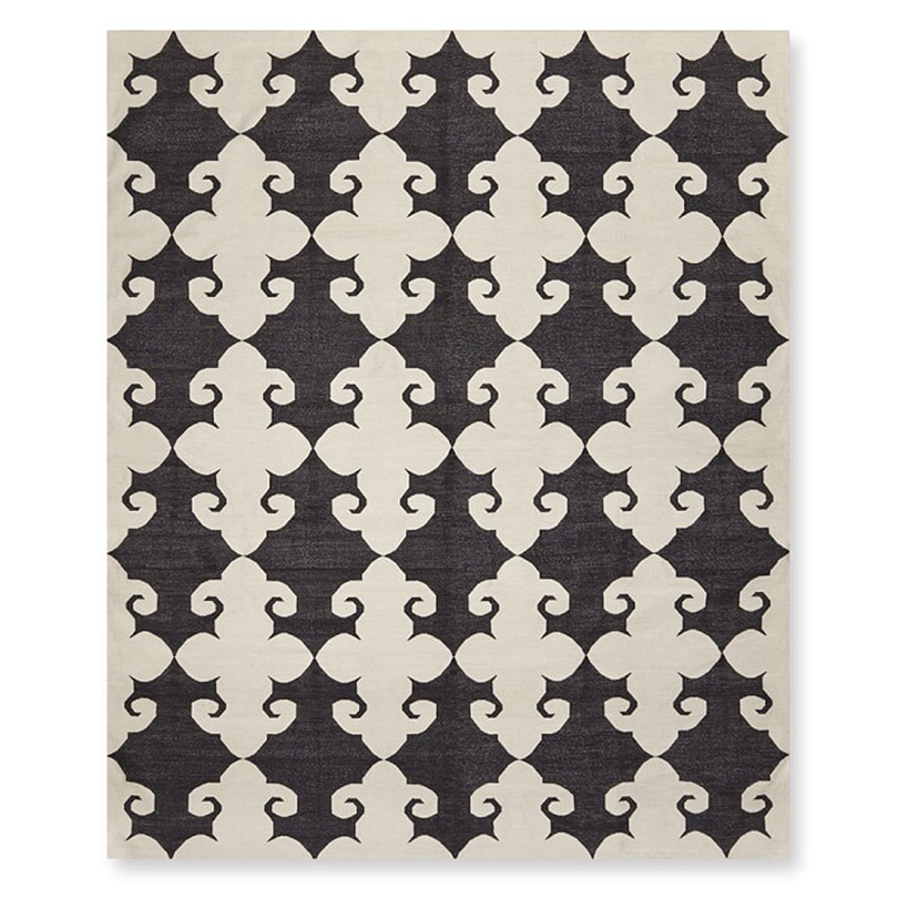 Medallion Flatweave Rug, Black and White, Williams-Sonoma Home