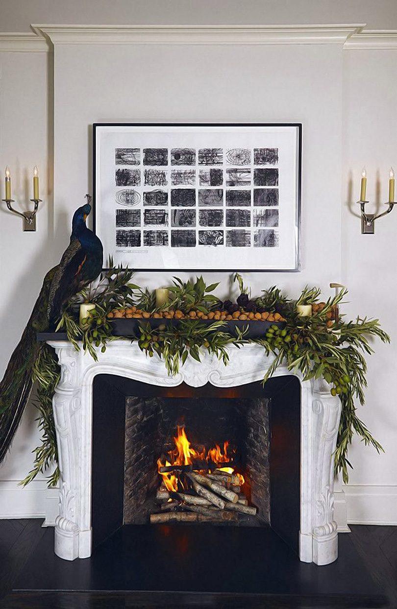 Christmas Taxidermy Peacock on a Fireplace Mantel — Lonny