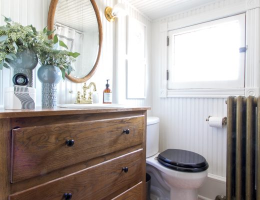 Bathroom with Wood Dresser and Hand-Painted Tumbling Blocks Floor | Making it Lovely