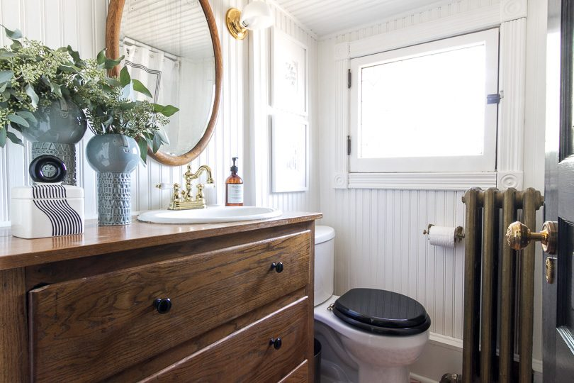 Small Bathroom, Black, White, Brass, and Wood | Making it Lovely