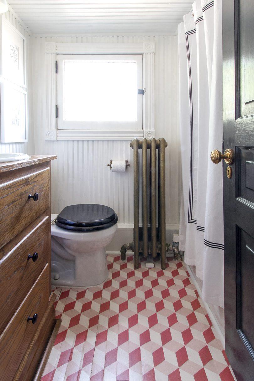 Hand-Painted Tumbling Blocks Bathroom Floor | Making it Lovely