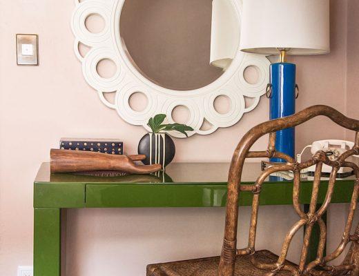 Green Parsons Desk, Pink Guest Bedroom | Making it Lovely