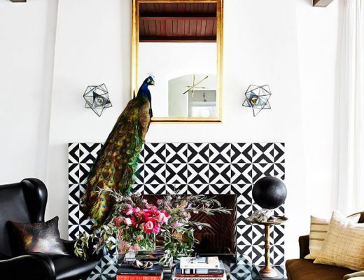 Peacock on a Patterned Tile Fireplace