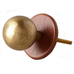 Anthropologie Leather and Gold Knob