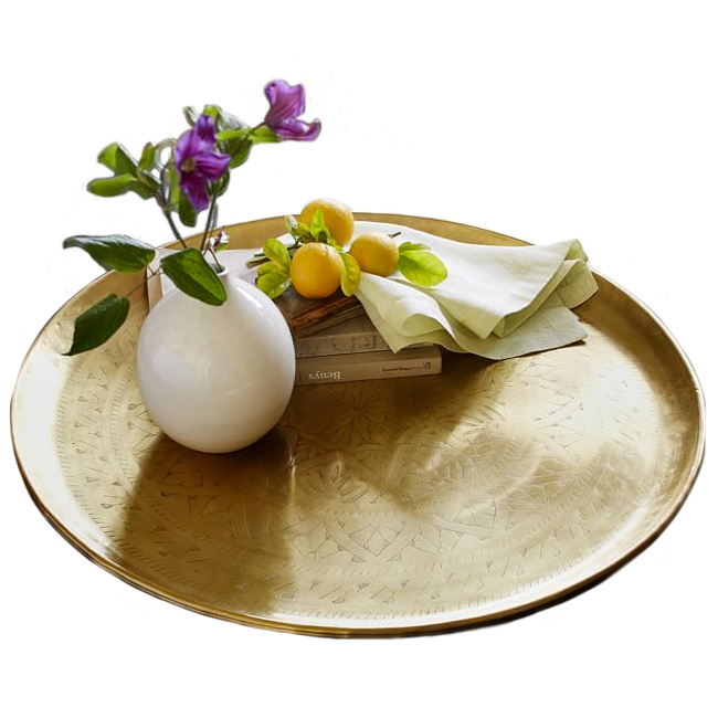 Etched Brass Round Tray, Pottery Barn