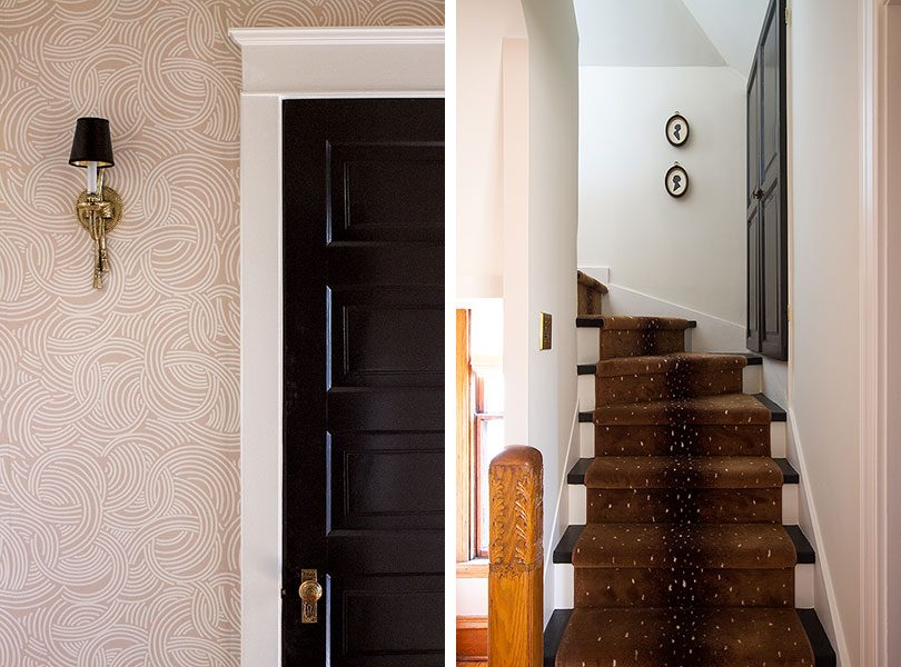 Pink Wallpapered Hallway and Stairs with Antelope Rug Runner | Making it Lovely