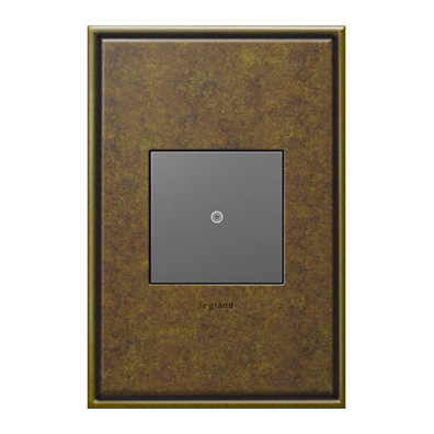 Legrand Adorne Push-Button Switch and Aged Brass Switchplate