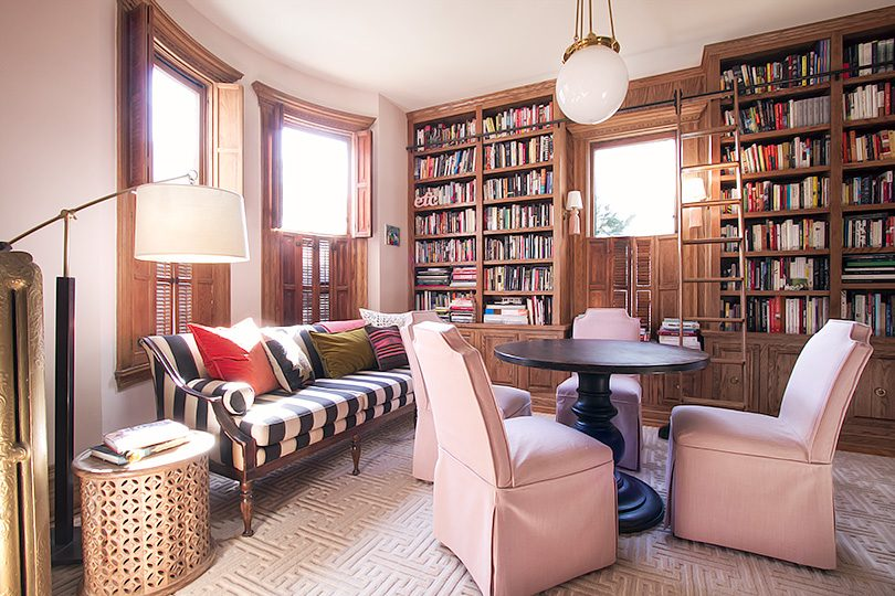 Home Library with Rolling Ladder   Making it Lovely