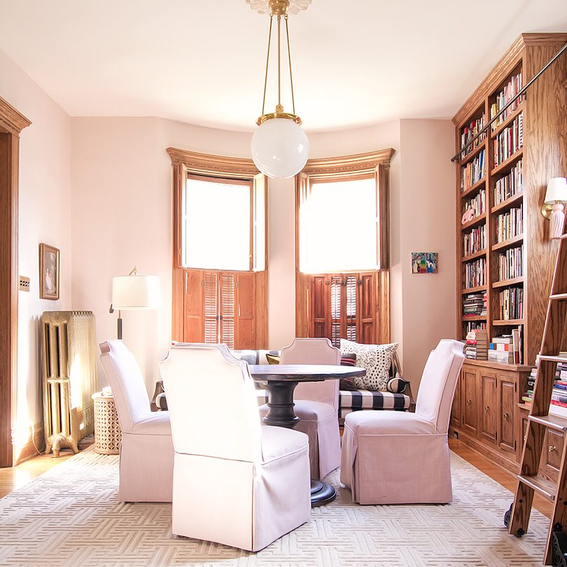 Pink Home Library, Annie Selke Beekman Rug, Pink Chairs