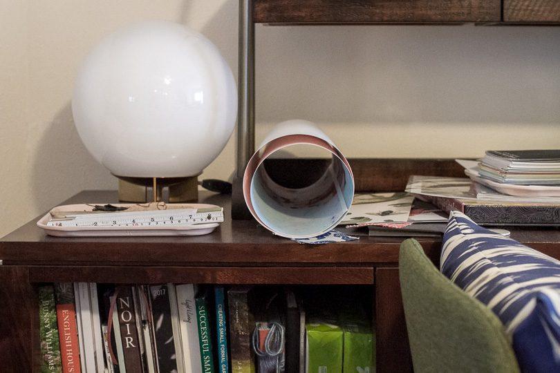 Globe Lamp on Modular Office Storage