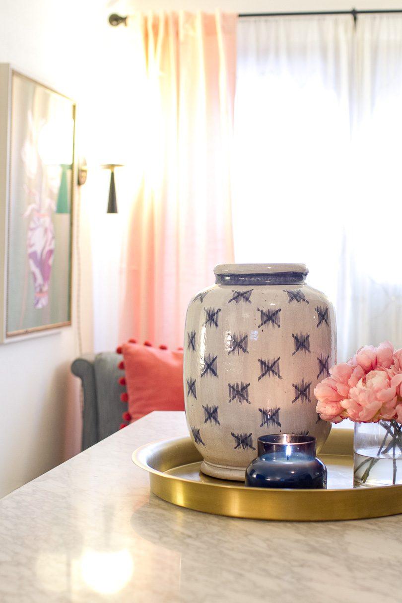 Ikat Blue and White Vase
