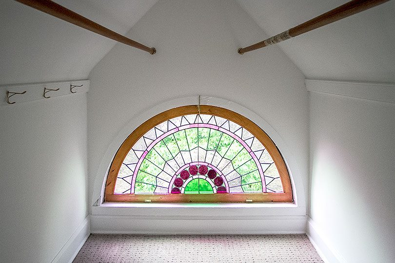 The Rainbow Room - Stained Glass Semi-Circle Demilune Window