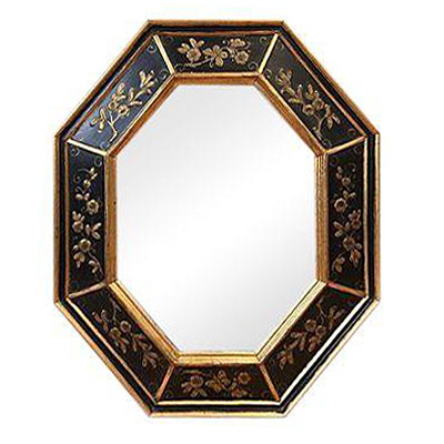 Hand-Painted Black and Gold La Barge Octagonal Mirror