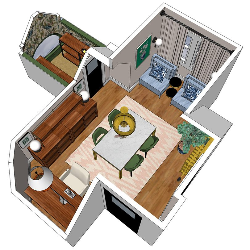 Office Layout (Made with SketchUp)   Making it Lovely