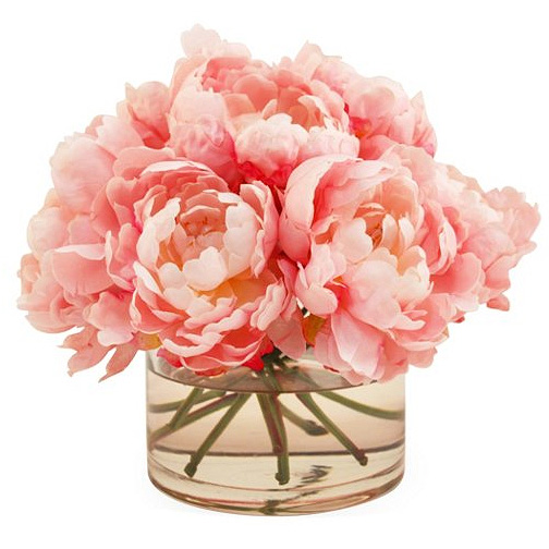 Faux Silk Pink Peonies in Glass Vase with Water