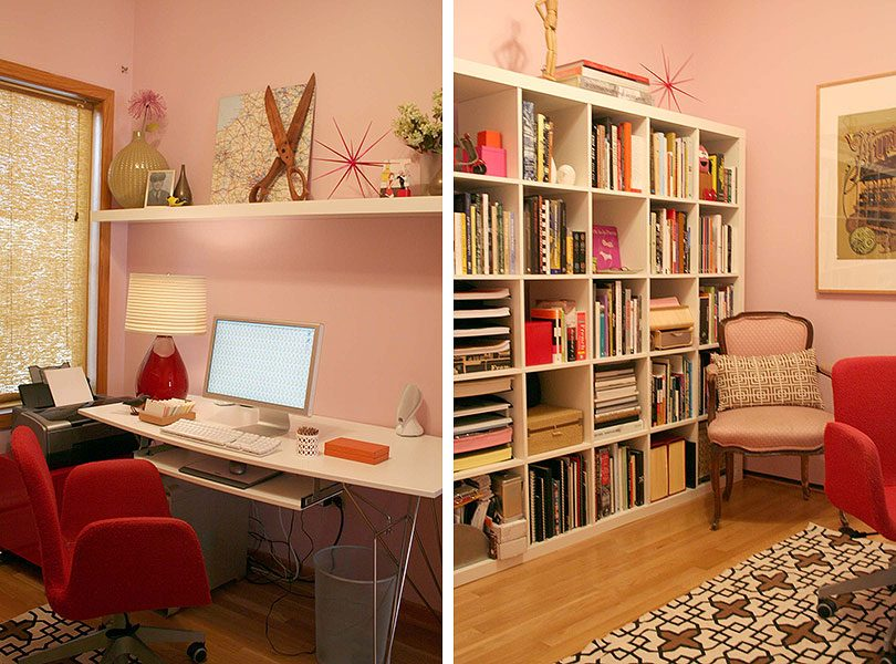 Red IKEA Desk Chair, Pink Home Office