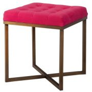 Pink Tufted Ottoman with Brass Base, Target