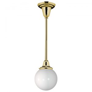 "Rose City 3-1/4"" Brass Pendant with Round Globe Milk Glass Shade, Rejuvenation"