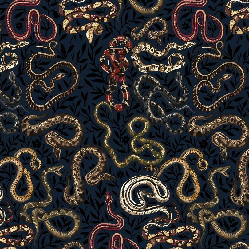 Serpentine Black Wallpaper, House of Hackney
