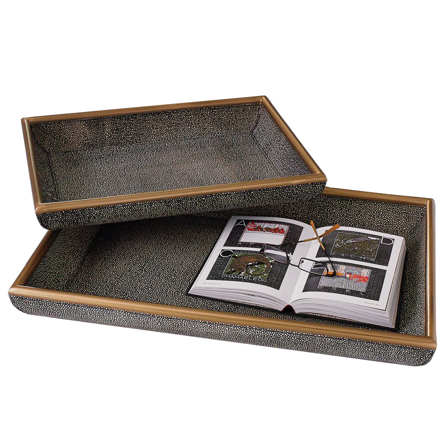 Churchill Faux Shagreen Trays, The Mine