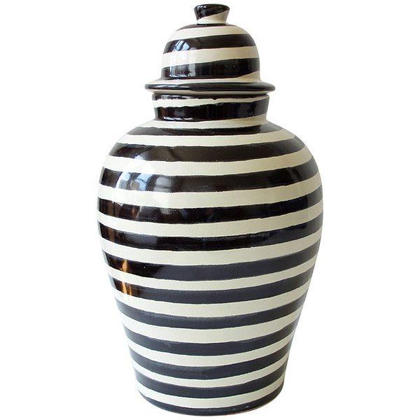 Tibor Black Striped Ginger Jar
