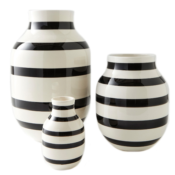 Omaggio Black and White Striped Vases, Unison