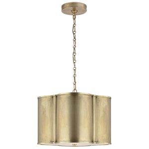 Visual Comfort AH5216NB Alexa Hampton Basil Small Hanging Shade Pendant Light, Natural Brass