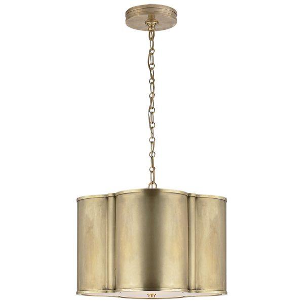Visual Comfort AH5216NB Alexa Hampton Basil Small Hanging Shade Pendant Light, Natural Brass