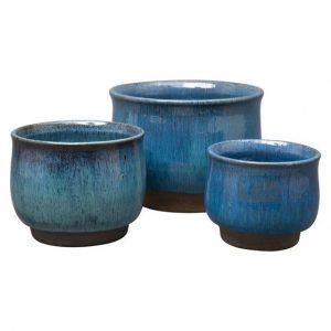 Blue Ceramic Cachepot Planters, Jayson Home