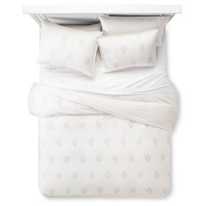 Embroidered Diamond Duvet & Sham Set Almond Cream - Nate Berkus, Target