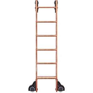 Rolling Wooden Library Ladder, Custom Service Hardware