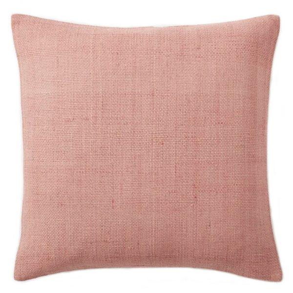 Silk Hand-Loomed Pillow, Rosette Pink, West Elm