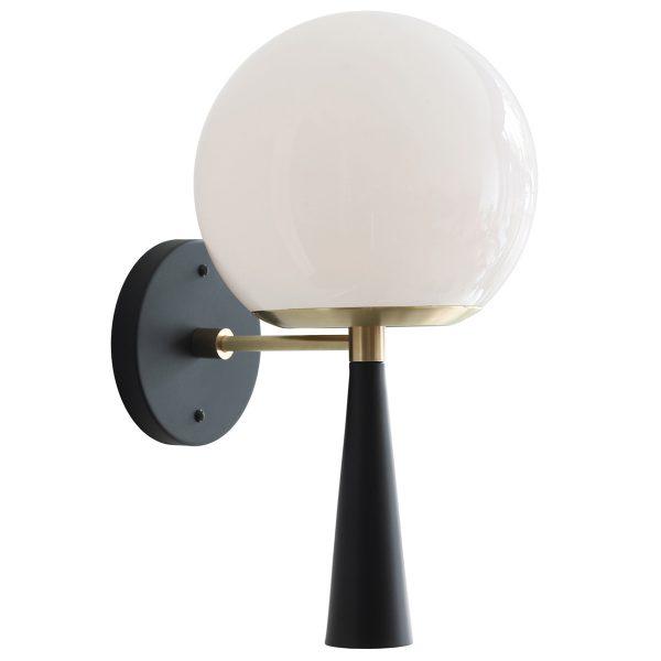 "Cedar & Moss Audrey 8"" Sconce, Black, Opal Glass Globe Shade"