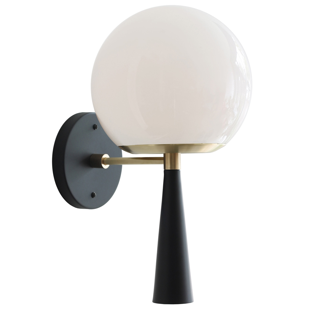 "Cedar & Moss Audrey 8"" Sconce, Black, Opal Glass Globe Shade"