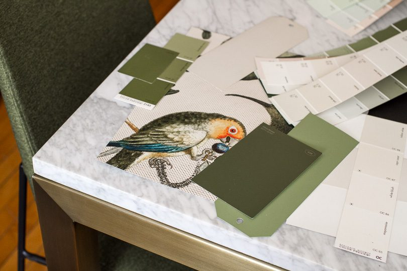 Milton & King Wallpaper, Green and Pink Paint Swatches