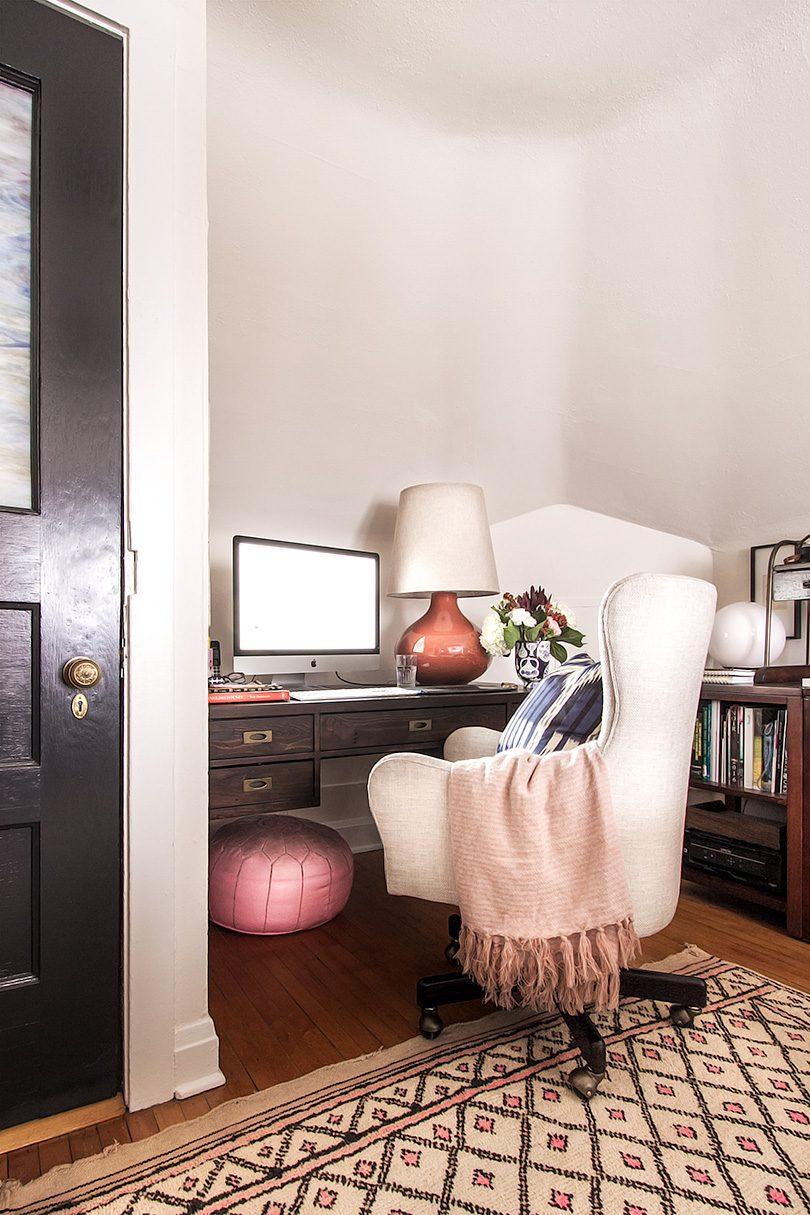 Liv Upholstered Desk Chair, Crate & Barrel   Making it Lovely, One Room Challenge, Office Makeover