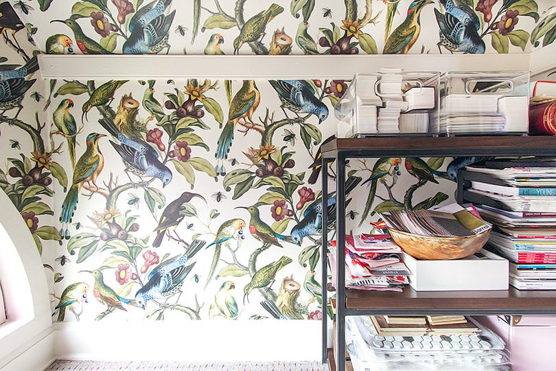 Article Walnut Shelves, Milton & King Wallpaper   Making it Lovely, One Room Challenge