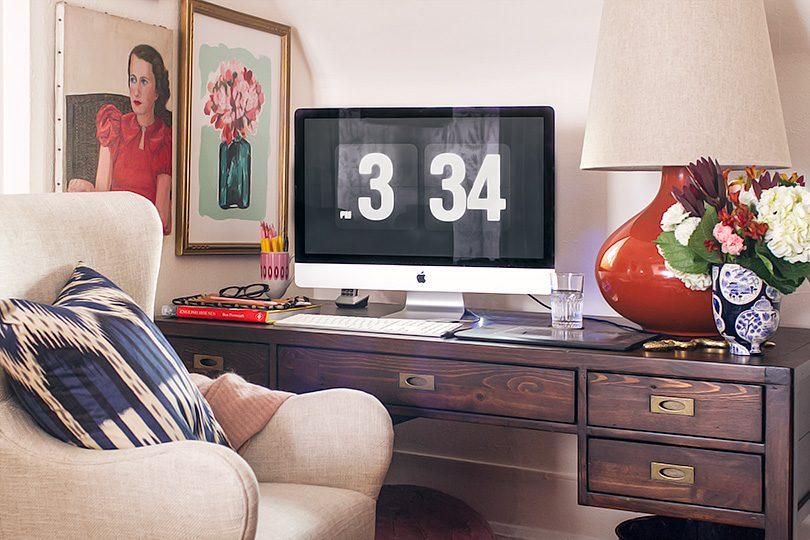 Crate & Barrel Morris Desk, Liv Upholstered Wingback Office Chair   Making it Lovely, One Room Challenge