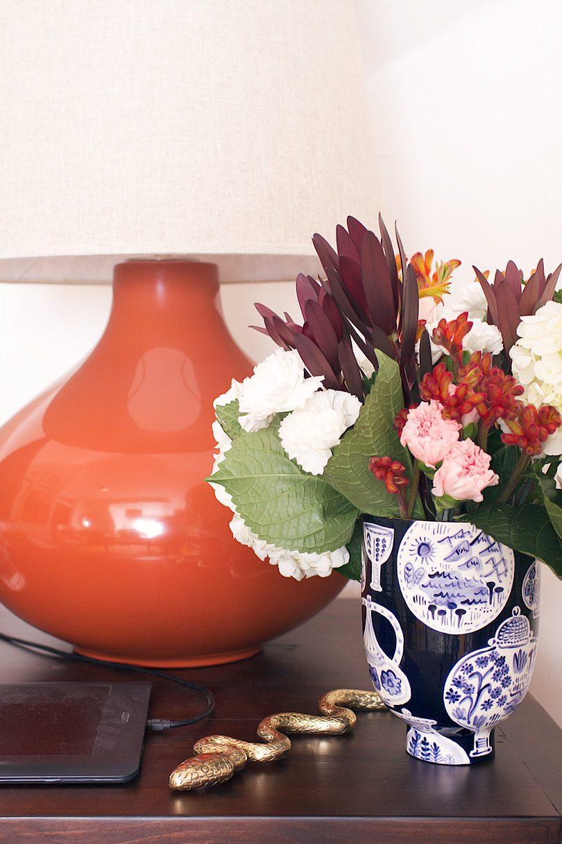 June Cinnamon Ceramic Lamp, Jill Rosenwald Vase, Brass Snake