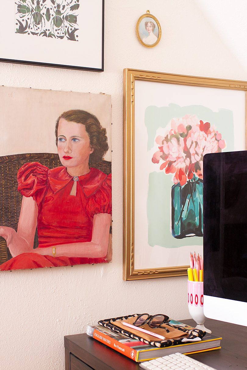 Vintage Portait Painting and Other Art Above the Desk | Making it Lovely