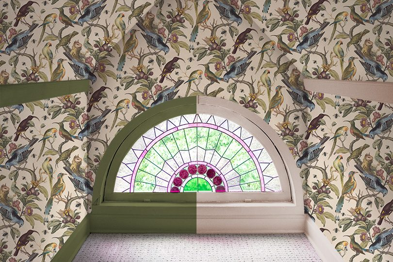 Rainbow Room, Milton & King Ornithology Wallpaper, Stained Glass Window, Green or Pink Painted Trim