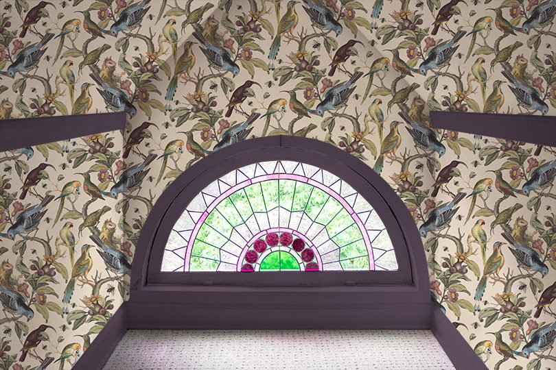 Rainbow Room, Milton & King Ornithology Wallpaper, Stained Glass Window, Plum Painted Trim
