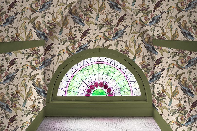 Rainbow Room, Milton & King Ornithology Wallpaper, Stained Glass Window, Green Painted Trim