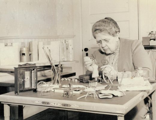 Frances Glessner Lee, working on her 'Nutshell Series of Unexplained Deaths'