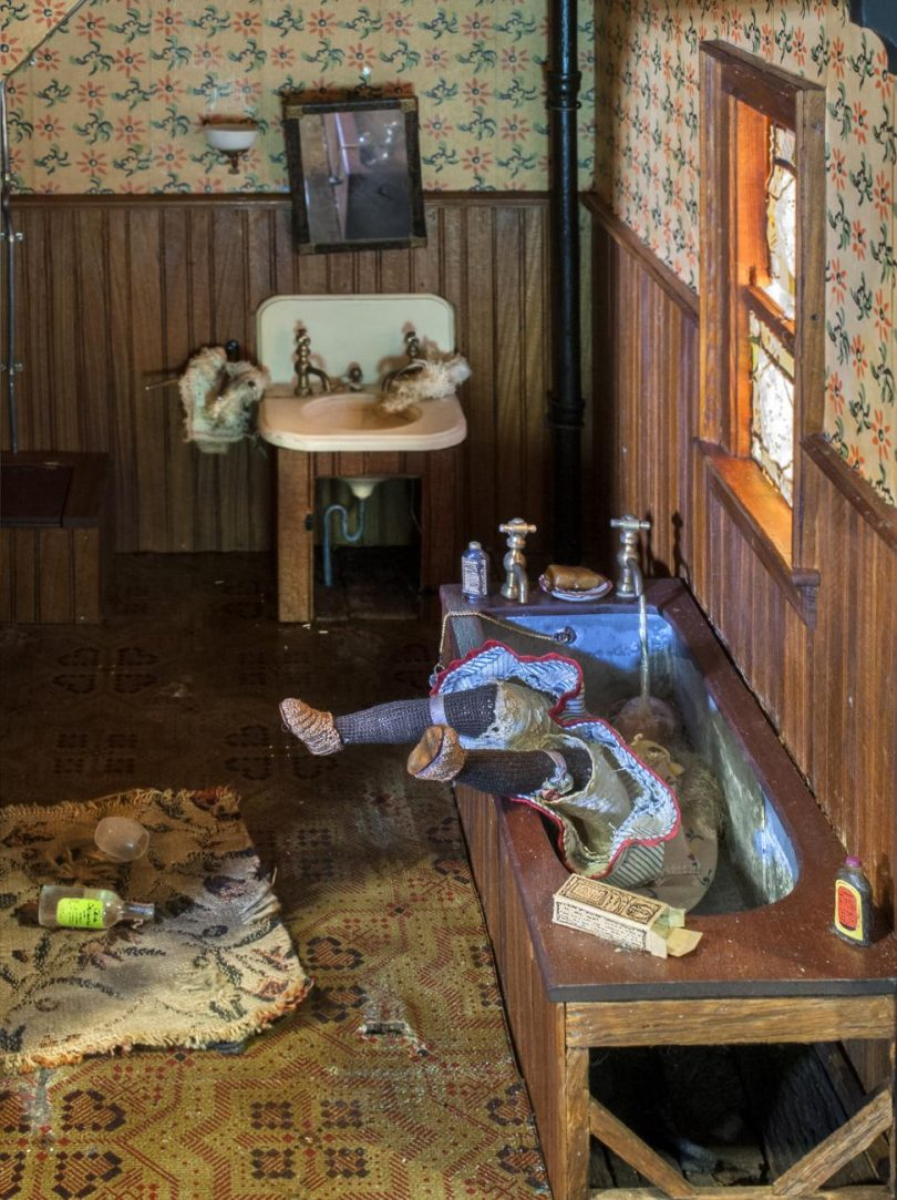 Frances Glessner Lee and The Nutshell Studies of Unexplained Death - dark bathroom