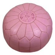 Pink Leather Moroccan Pouf, John Derian