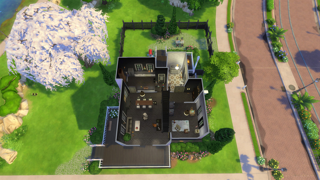 Main Level Floor Plan — Sims 4 Pink