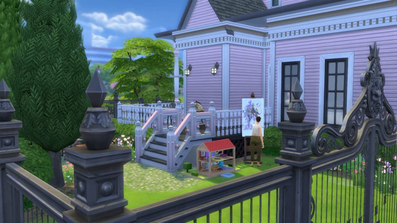 The Backyard— Sims 4 Pink Victorian House, Making it Lovely