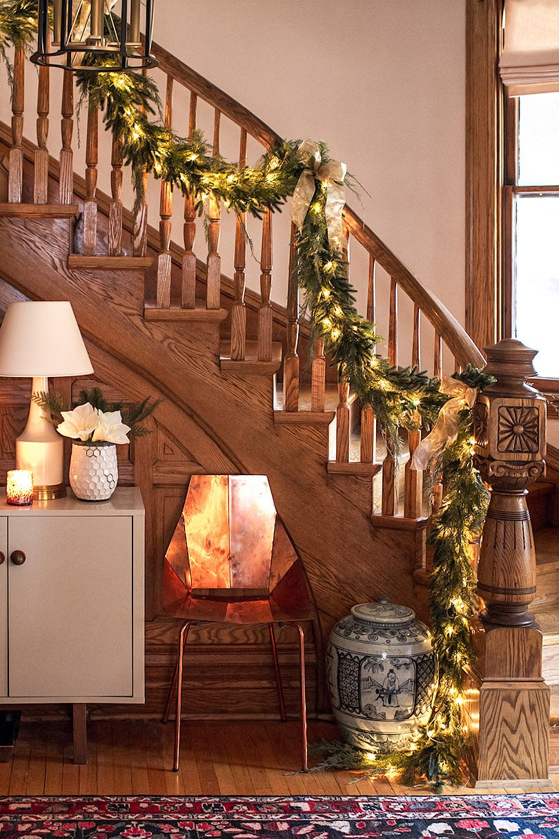 Victorian Oak Staircase Banister with Christmas Garland | Making it Lovely