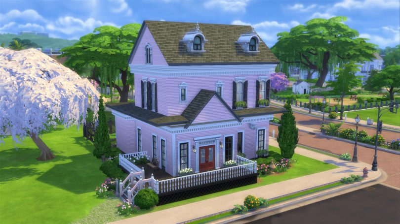 The Sims 4 Pink Victorian House with Wraparound Front Porch, Making it Lovely
